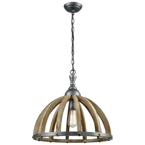 Barnstorm Pendant in Wood Tone and Pewter