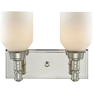 Baxter 2-Light Vanity in Polished Nickel with Opal White Glass