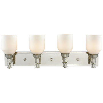 Baxter 4-Light Vanity in Polished Nickel with Opal White Glass