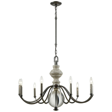 Neo Classica 9-Light Weathered Birch Finished Wood Aged Black Nickel Chandelier