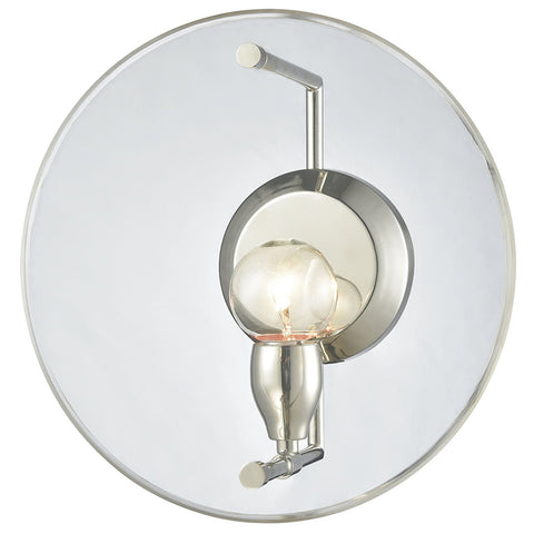 Disco 1-Light Sconce in Polished Nickel with Clear Acrylic Panel