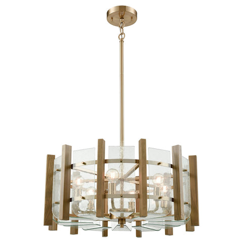 Vindalia 6-Light Chandelier in Satin Brass with Wood Slats and Curved Glass