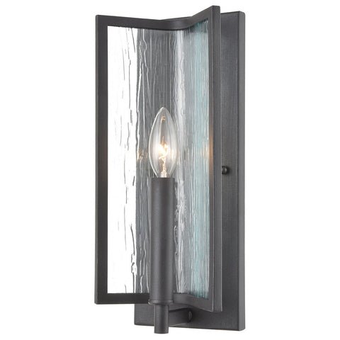 Inversion 1-Light Sconce in Charcoal with Textured Clear Glass