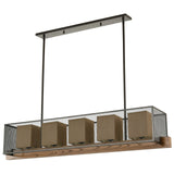 Crossbeam 5-Light Island Light in Oil Rubbed Bronze and Medium Oak