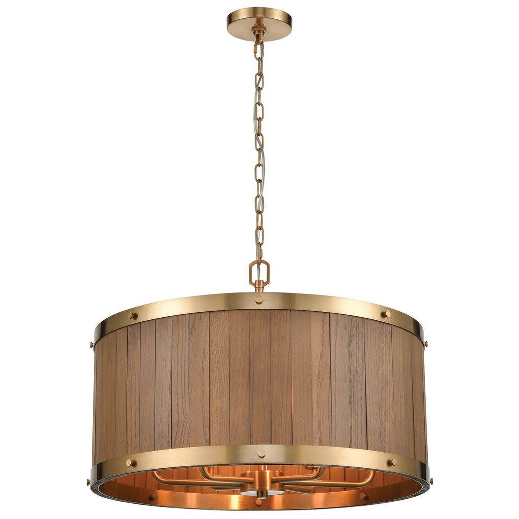 "Wooden Barrel 6-Light 11"" High Chandelier in Satin Brass"