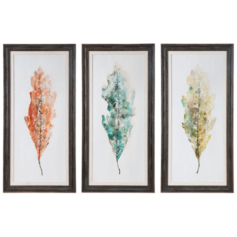 Tricolor Leaves Abstract Art, Set of 3