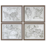 World Maps Framed Prints Set of 4