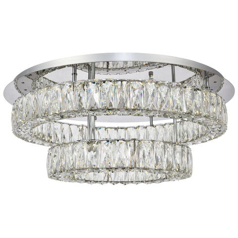 Monroe Led Light 25.6-Inch Two Tiers Chrome Flush Mount