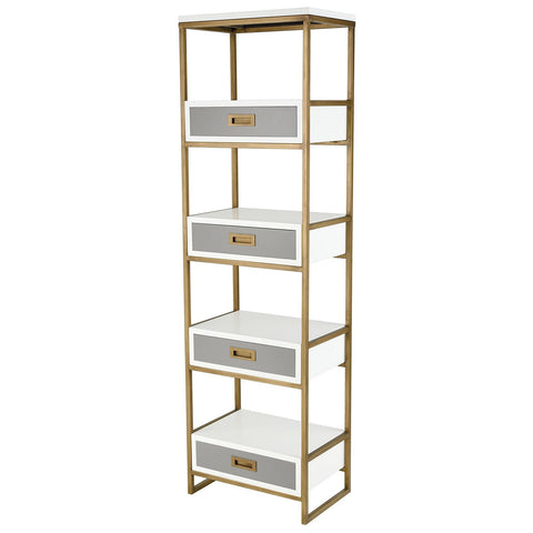 Olympus Aged Brass Shelving Unit in White and Grey