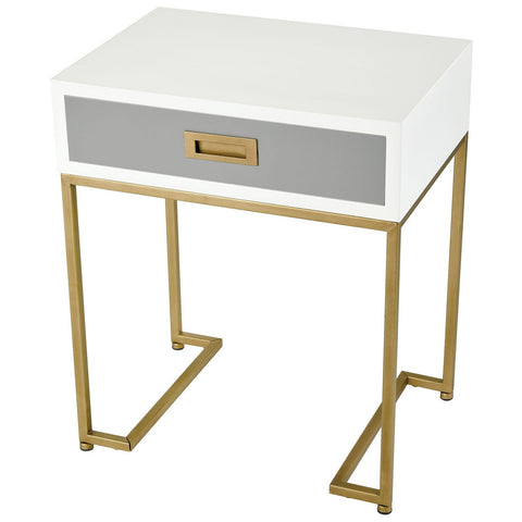 Olympus Aged Brass Accent Table in White and Grey