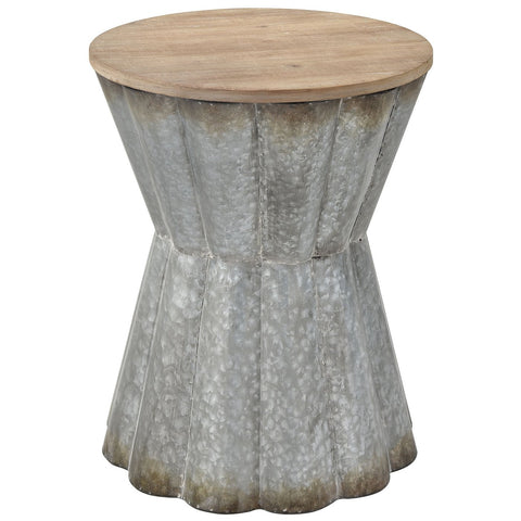 Crinkle Side Table in Galvanized Steel and Reclaimed Wood