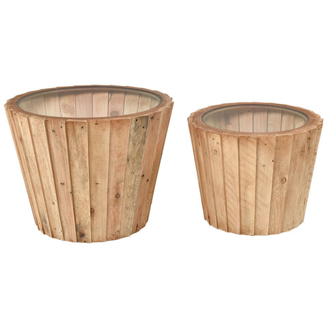 Aviation Accent Tables in Natural Wood and Clear (Set of 2)