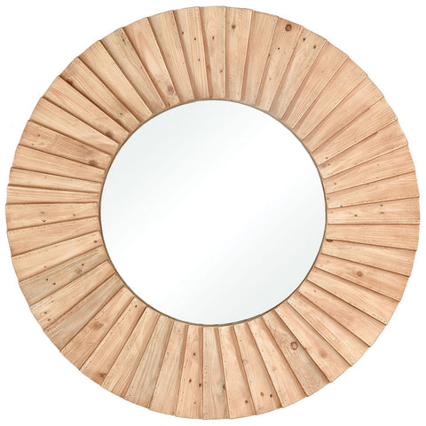 Aviation Mirror in Natural Wood