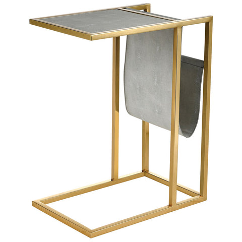 Kingsroad Accent Table with Magazine Holder in Gold and Light Grey