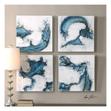 Swirls In Blue Abstract Art, Set of 4