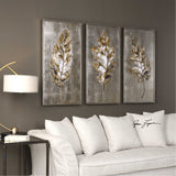 Champagne Leaves Modern Art Set of 3