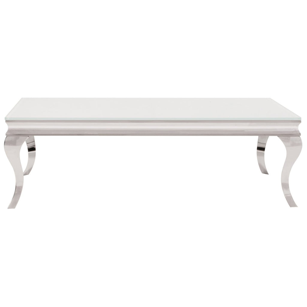 Stainless Steel Coffee Table with Thick Tempered Glass Top