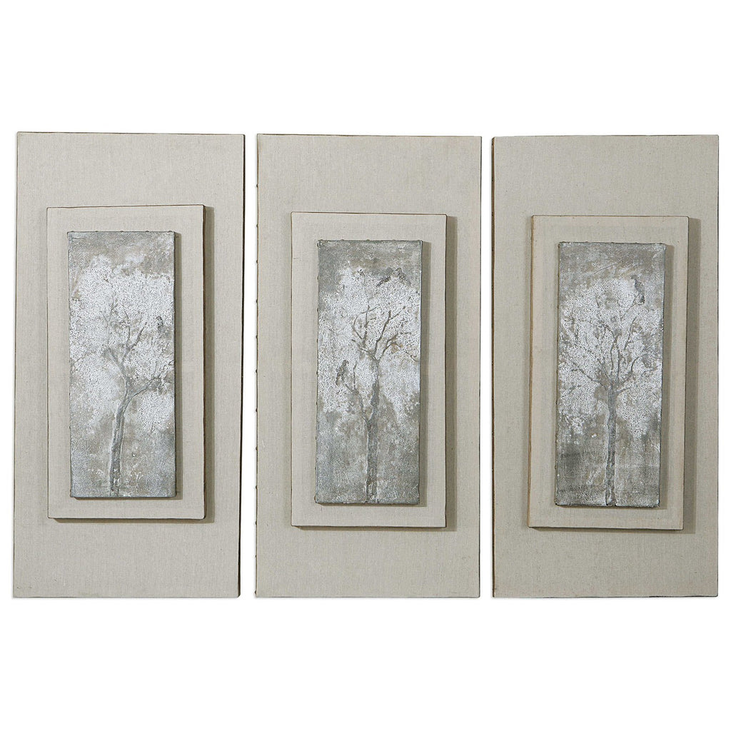 Triptych Trees Hand Painted Art Set of 3