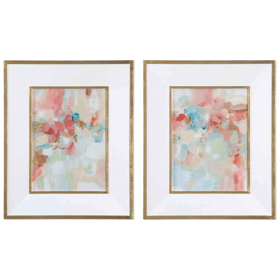 A Touch of Blush and Rosewood Fences Art, Set of 2