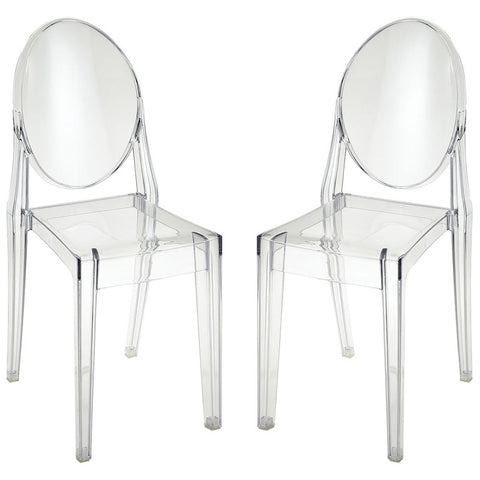 Vanish Clear Acrylic Set of 2 Dining Chairs