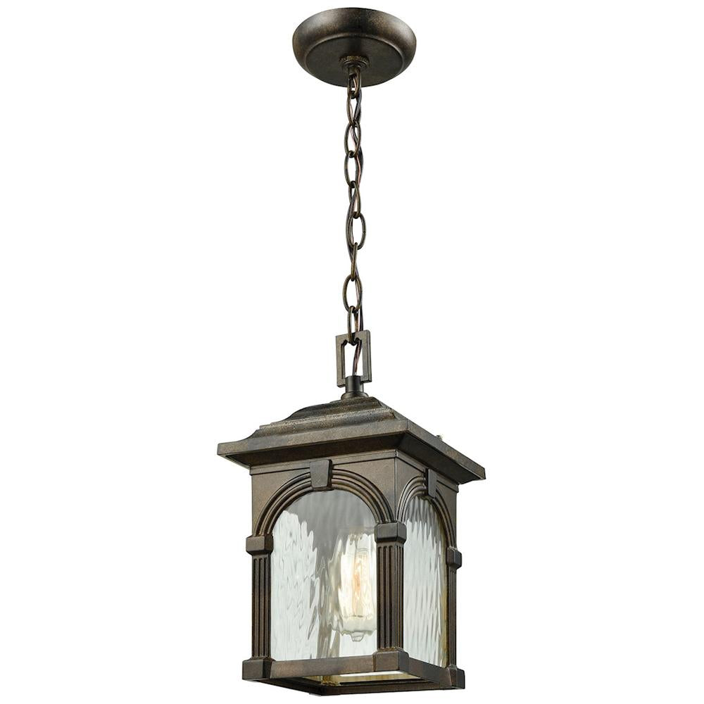 Stradelli 1-Light Outdoor Pendant in Hazelnut Bronze with Clear Water Glass