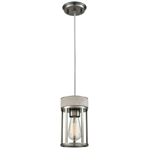 Urban Form 1-Light Pendant in Black Nickel with Concrete Accent