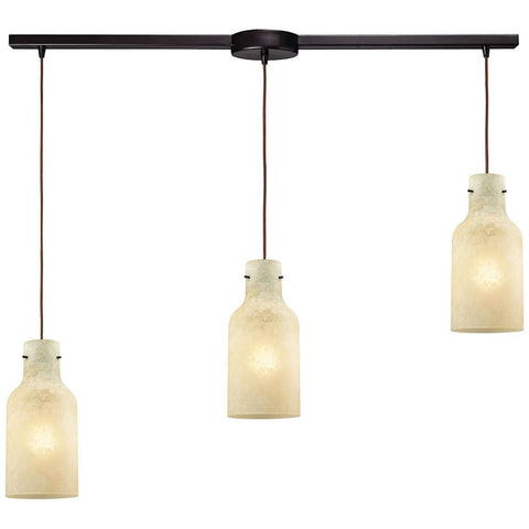 Weatherly 3-Light Linear Bar Pendant in Oil Rubbed Bronze with Chalky Glass