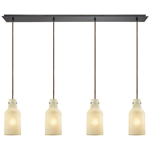 Weatherly 4-Light Linear Pan Pendant in Oil Rubbed Bronze with Chalky Glass