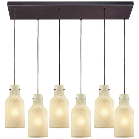 Weatherly 6-Light Rectangle Pendant in Oil Rubbed Bronze with Chalky Glass