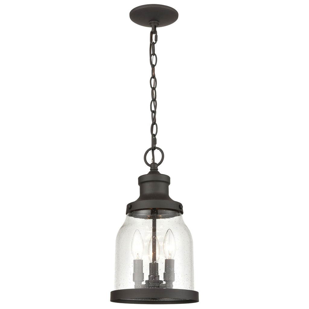 Renford 3-Light Outdoor Pendant in Architectural Bronze with Seedy Glass