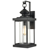 Minersville Outdoor Sconce in Matte Black with Antique Speckled Glass