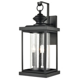 Minersville 3-Light Outdoor Sconce in Matte Black with Antique Speckled Glass