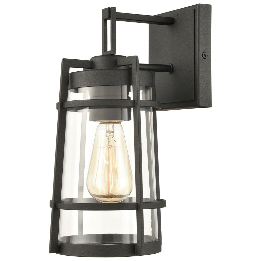 Crofton 1-Light Outdoor Sconce in Charcoal with Clear Glass