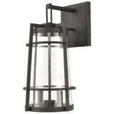 Crofton 2-Light Outdoor Sconce in Charcoal with Clear Glass