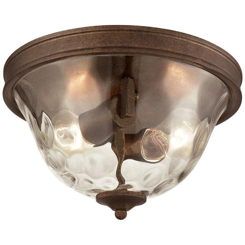 Cheltham 2-Light Flush in Mocha with Clear Water Glass