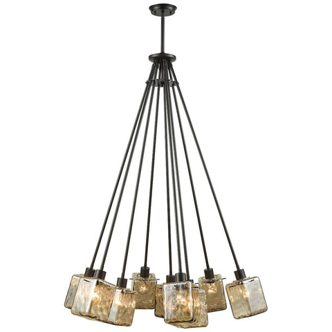 Watercube 9-Light Chandelier in Oil Rubbed Bronze with Teak Water Glass