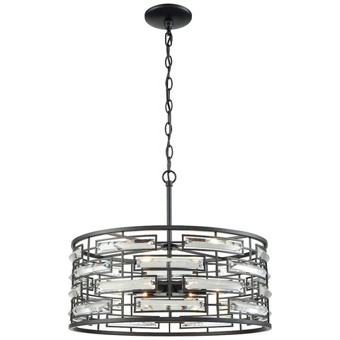 Lineo 6-Light Chandelier in Matte Black with Clear Crystal