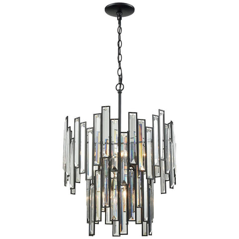 Lineo 6-Light Matte Black Chandelier with Clear Crystal