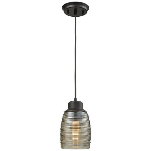 Muncie 1-Light Pendant with Champagne Plated Spun Glass