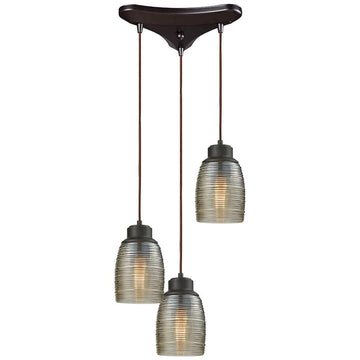 Muncie 3-Light Triangle Pan Pendant with Champagne Plated Spun Glass