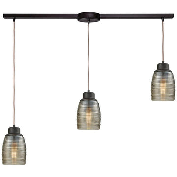 Muncie 3-Light Linear Bar Pendant with Champagne Plated Spun Glass