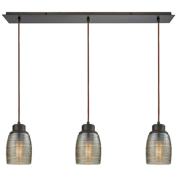 Muncie 3-Light Linear Pan Pendant with Champagne Plated Spun Glass