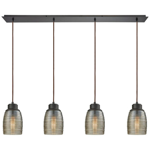 Muncie 4-Light Linear Pan Pendant with Champagne Plated Spun Glass