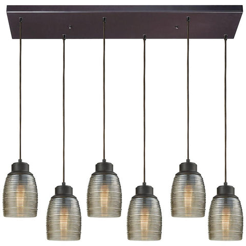 Muncie 6-Light Rectangle Pendant with Champagne Plated Spun Glass
