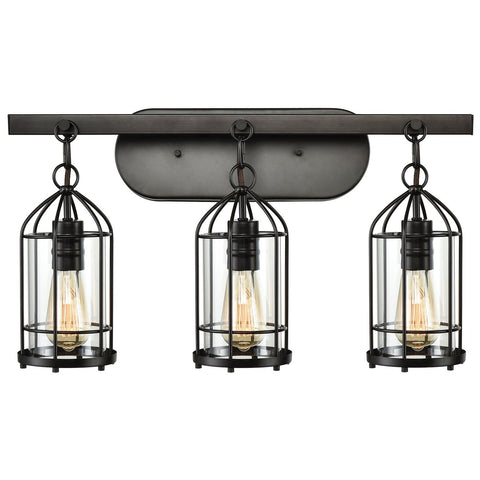 Southwick 3-Light Vanity Lamp in Oil Rubbed Bronze with Clear Blown Glass