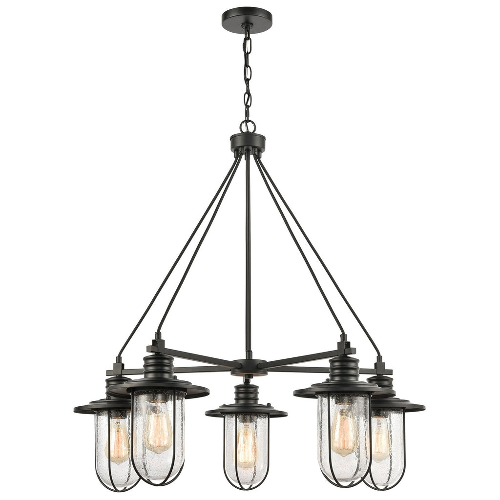 Lakeshore Drive 5-Light Chandelier in Matte Black with Seedy Glass