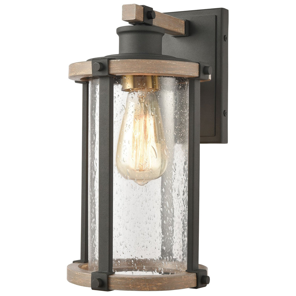 Geringer 1-Light Sconce in Charcoal and Beechwood with Seedy Glass