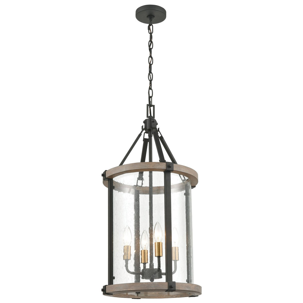 Geringer 4-Light Pendant in Charcoal and Beechwood with Seedy Glass Enclosure