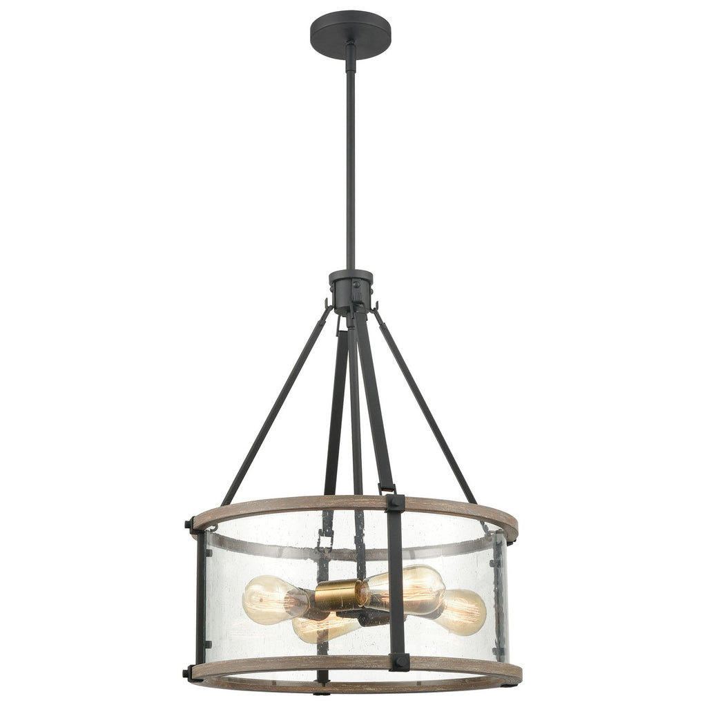 Geringer 4-Light Seedy Glass Enclosure Pendant in Charcoal and Beechwood