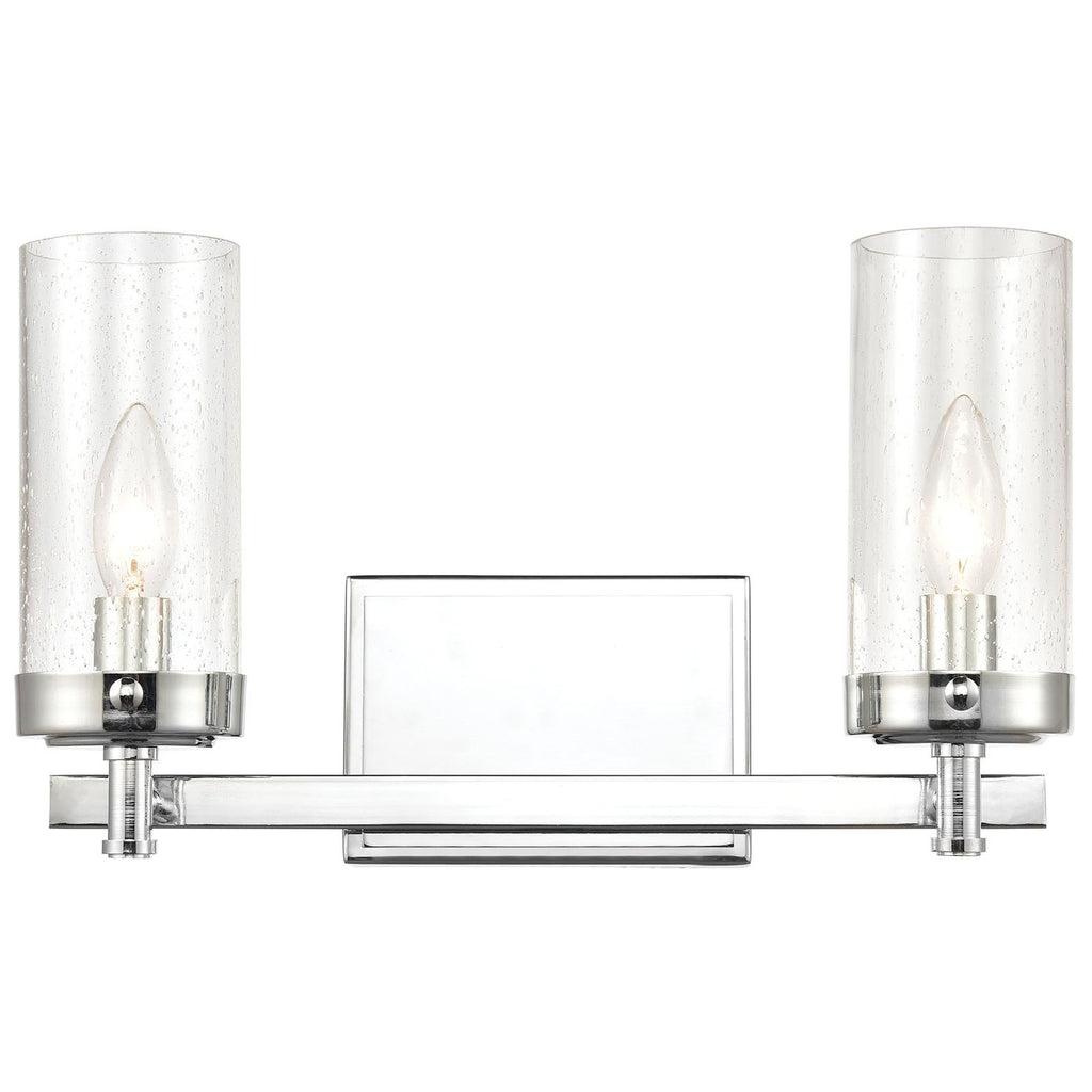 Melinda 2-Light Vanity Light in Polished Chrome with Seedy Glass